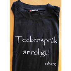T-shirt TECKENSPRÅK ÄR ROLIGT!, vuxen - Svart